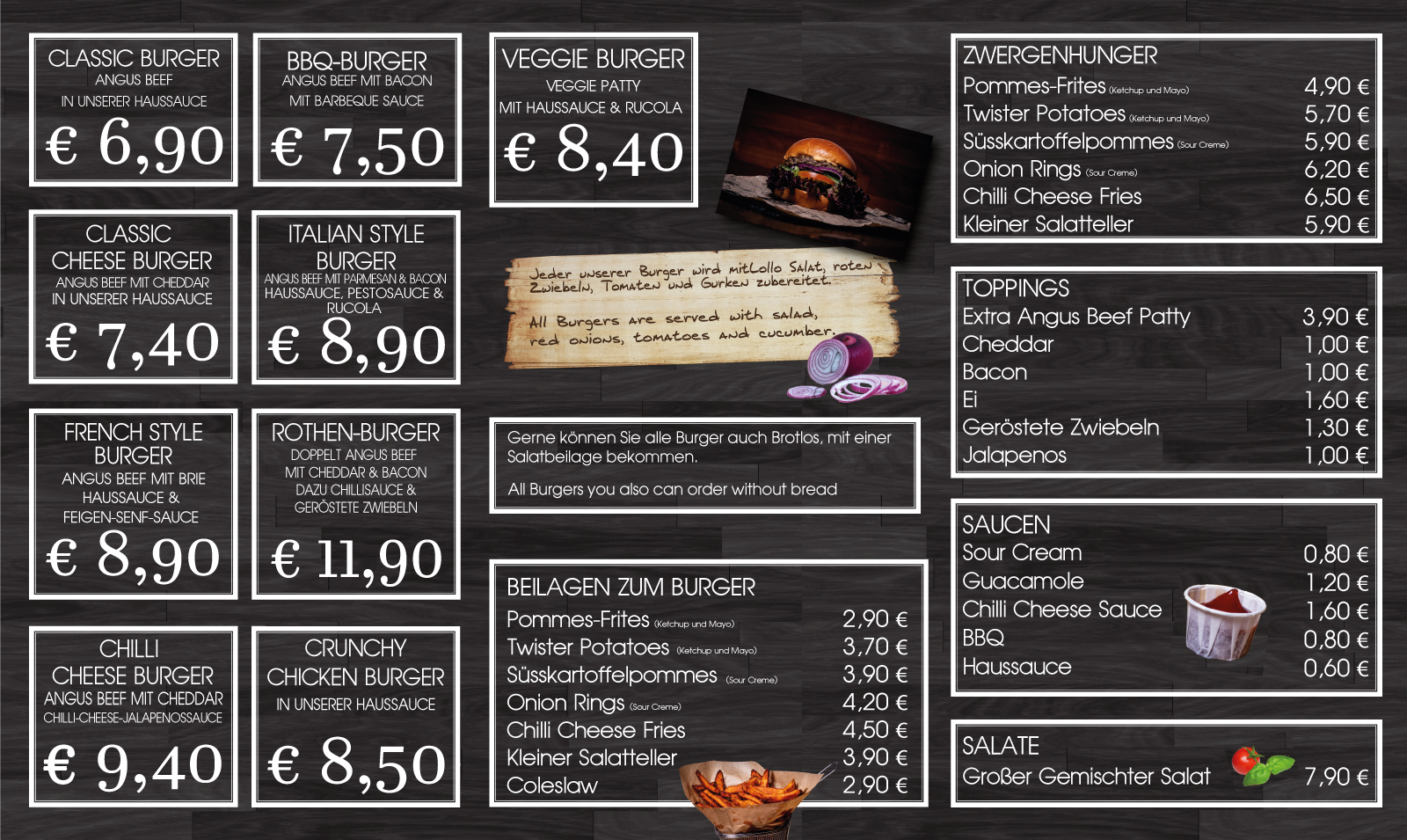 Speisekarte für Burgerlokal